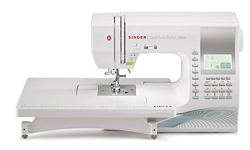 SINGER | Quantum Stylist 9960 Computerized Portable Sewing Machine with 600-Stitches Electronic Auto Pilot Mode, Extension Table and Bonus Accessories, Perfect for Customizing Projects