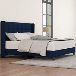 Amolife Queen Bed Frame Wingback Platform Bed/Mattress Foundation with Wood Slat Support/Upholstered Square Stitch with Headboard, Dark Blue