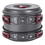 KingCamp Camping Cookware Mess Kit 17 Pcs for 4-6 Person, Backpacking Cooking Set, Outdoor Camp Gear Accessories for Family Hiking Picnic Lightweight Cookware Sets