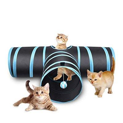 Creaker 3 Way Cat Tunnel, Collapsible Pet Toy Tunnel Ball Cat, Puppy, Kitty, Kitten, Rabbit