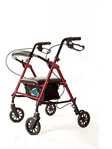 Super Light Rollator Lightweight Aluminum Folding Walker with Seat and Loop Brakes, 6' Wheels, Height Easy Adjustable by Legs and Arms, Red