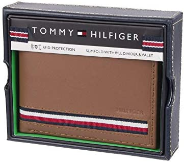 Tommy Hilfiger Men's Leather Bifold Wallet, Tan Zed, One Size 3