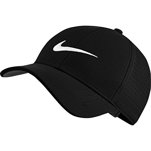 NIKE Unisex AeroBill Legacy 91 Perforated Golf Cap, Black/Anthracite/White, One Size