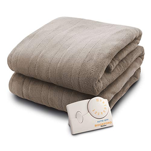 Biddeford Heated Blanket with 10 Heat Settings, 10 Hour Auto Shutoff and Ultra Thin Wire, TAUPE (FULL)