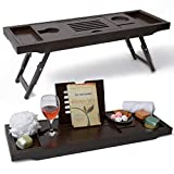 Bathtub Tray & Laptop Bed Desk -Patent Pending 2 In 1 Innovative Design Transforms Our 100% Extra Large Bamboo Bathtub Caddy To Bed Tray (10' wide) - For The Ultimate Pampering Experience(Espresso)