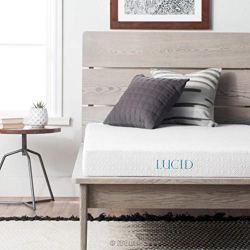 LUCID 5 Inch Gel Memory Foam Dual-Layered-CertiPUR-US Certified-Firm Feel Mattress, Twin XL, White