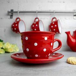 Red Polka Dot 12oz Coffee Tea Cup and Saucer