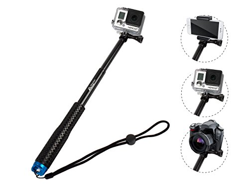 ProsPole Extendable Pole an Aluminium Telescopic Monopod Extension & Adjustable Selfie Stick for Gopro Hero 4 Session Black Silver Hero 2 3 3+ 4 and Other Action Cameras (Blue - 20.5')