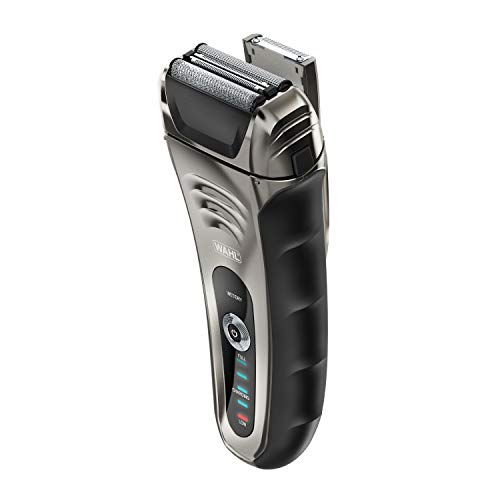 Wahl Smart Shave Rechargeable lithium ion wet / dry water proof foil shaver for men. Smartshave technology for shaving, trimming, and wet or dry shave with precision ground trimmer blade #7061-900