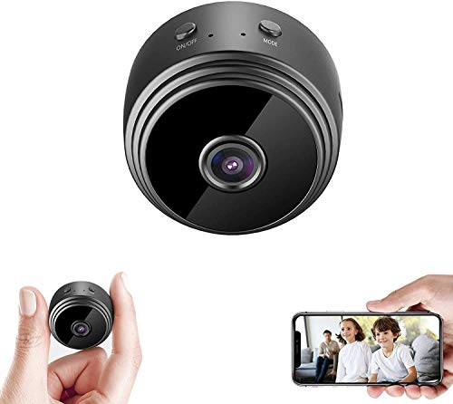 SekyuritiBijon-WiFi-Round-Hi-Focus-Full-HD-Mini-Spy-Magnetic-Live-Stream-Night-Vision-IP-Wireless-1080P-Audio-and-Video-Hidden-Nanny-Camera-for-Home-Offices-Security-Black-Pack-of-1