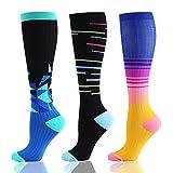 HLTPRO Compression Socks for Women & Men (20-30mmHg) – Athletic Compression Stockings Fit Running, Nurses, Sports, Medical, Flight Travel, Pregnancy (3 Paris Geometry01, S/M)