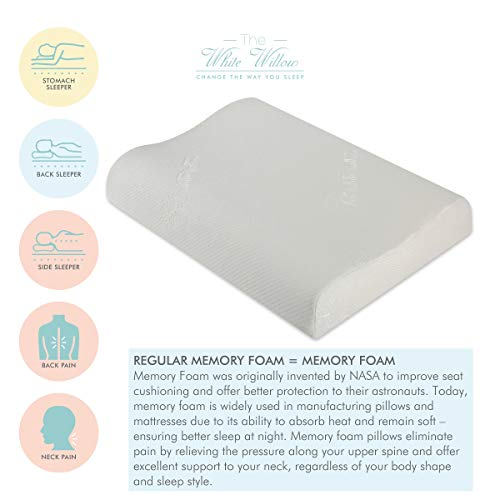 The White Willow Contour Cervical Orthopedic Memory Foam Pillow- White 2