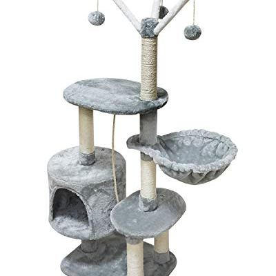 MIAO PAW Cat Tree Tower Condo Sisal Post Scratching Furniture Activity Center Play House Cat Bed Grey