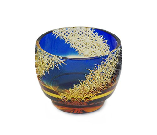 Ohba Glass Cut Glass 江戸切子 Edo Kiriko, Japanese Traditional Craft in Gift Box 光る宙 Milky Way (Ultramarine/Amber)