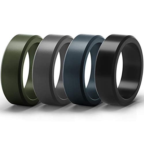 ThunderFit Silicone Rings for Men 4 Pack Rubber Wedding Bands (Dark Blue, Dark Green, Black, Dark Grey, 6.5-7 (17.3mm))