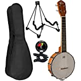 Oscar Schmidt OUB1 Banjo Ukulele Bundle with Padded Gig Bag, Tuner, Polishing Cloth, Extra Strings and Stand