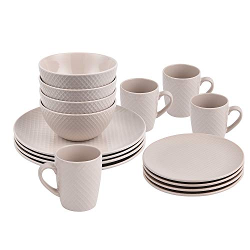 16-Piece Round Dinnerware Sets, Lattice Design Ceramic Dinnerware Sets, Handmade Porcelain Dinnerware Sets Safe for Dishwasher and Microwave for Everyday Use, Service for 4, Beige