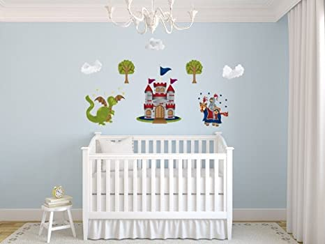 Sunny Decals Knight and Dragon Fabric Wall Decals, Standard