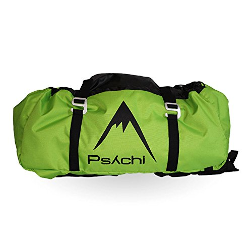 Psychi Rock Climbing Rope Bag with Ground Sheet Buckles and Carry Straps (Green)