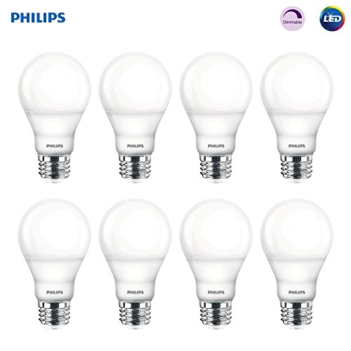 Philips 538322 LED Dimmable A19 Soft White Light Bulb with Warm Glow Effect: 800-Lumen, 2700-2200-Kelvin, 9.5-Watt (60-Watt Equivalent), E26 Base, Frosted, 8-Pack