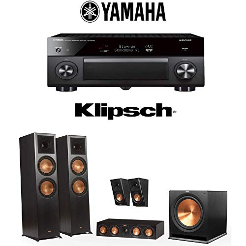 Klipsch Reference Premiere RP-8000F 5.1 Home Theater System (RP-12400010-Ebony) with Yamaha AVENTAGE RX-A3080 9.2-Channel 4K Home Theater AV Receiver