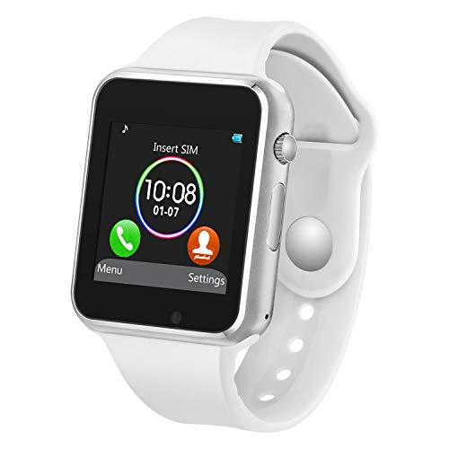 Smart Watch with Bluetooth Camera Music Player for iOS iPhone, Android Samsung HTC Sony LG Huawei Smartphones (White)