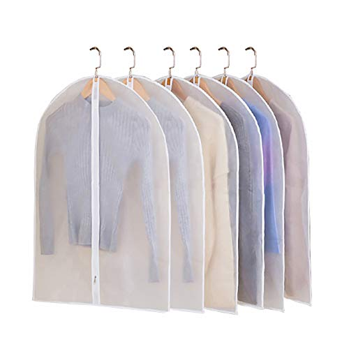 JIESMART Hanging Garment Bag Lightweight Suit Bags Anti-Moth (Set of 6) with Sturdy Full Zipper for Closet Storage and Travel,Clear Plastic Cover for Clothes Storage Suits Dress (24X32-6pcs)
