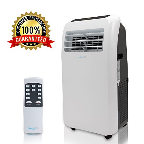 Portable Electric Air Conditioner Unit - 1150W 10000 BTU Power Plug-In AC Indoor Room Conditioning System w/ Cooler, Dehumidifier, Fan, Exhaust Hose, Window Seal, Wheels, Remote - SereneLife SLPAC10