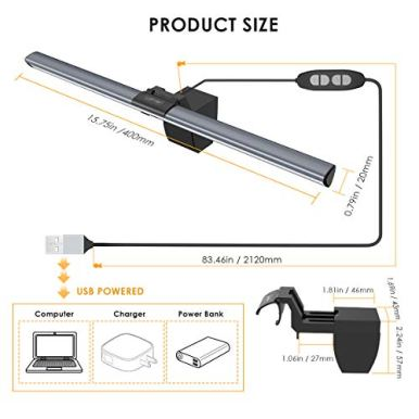 Computer-Monitor-Light-LOFTer-Screen-Light-Bar-e-Reading-LED-Task-Lamp-with-No-Glare-on-Screen-USB-Powered-Monitor-Lamps-for-OfficeHome-Adjustable-BrightnessColor-Temperature-Reading-Light