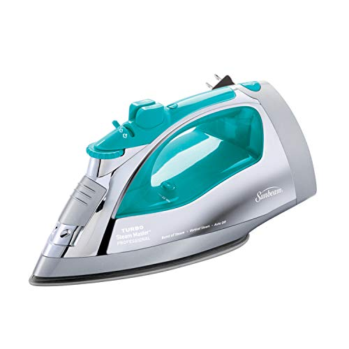 Sunbeam Steammaster Steam Iron   1400 Watt Large Anti-Drip Nonstick Stainless Steel Iron with Steam Control and Retractable Cord, Chrome/Teal