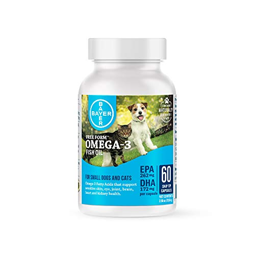 Bayer Free Form Snip Tips Omega-3 Supplement for Small Dogs and Cats, 60 count