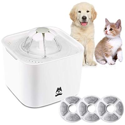 TDYNASTY DESIGN Cat Dog Pet Water Fountain 2L Drinking Dispenser Fresh Water Bowl Healthy Quiet Waterer with 3pcs Replaceable Filters for Dogs,Cats,Birds and Small Animals
