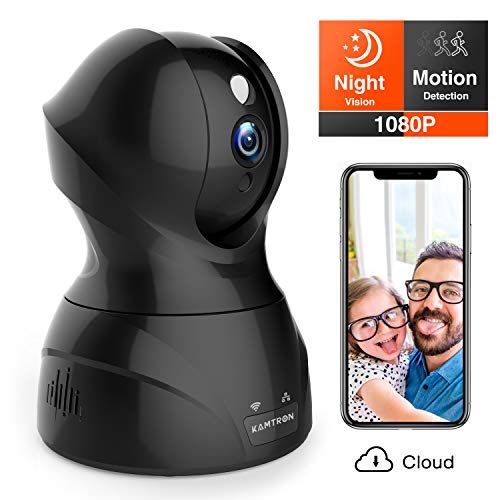 Security Camera 1080P WiFi Pet Camera - KAMTRON Wireless Indoor Pan/Tilt/Zoom Home Camera Baby Monitor IP Camera with Motion Detection Two-Way Audio, Night Vision - Cloud Storage