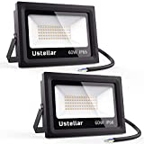 Ustellar 2 Pack 60W LED Flood Light, IP66 Waterproof, Outdoor Super Bright Security Lights, 300W Halogen Bulb Equivalent, 2700K Warm White, Floodlight Landscape Wall Lights