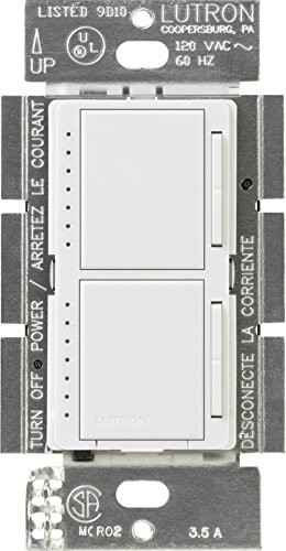 Lutron Maestro Dual Dimmer Switch for Incandescent and Halogen Bulbs, 300-Watt, Single-Pole, MA-L3L3-WH, White