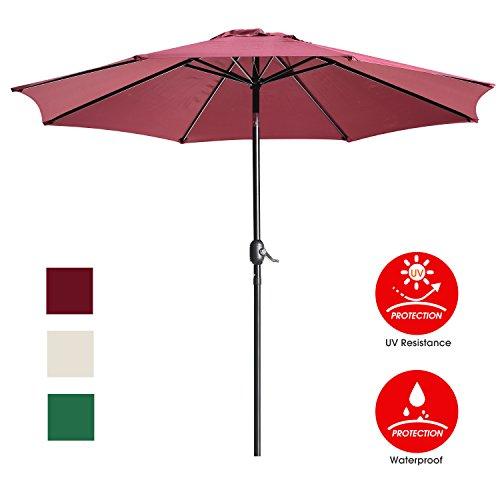 UHINOOS 9 ft Patio Umbrella,Outdoor Umbrella with Crank and 8 Ribs, Polyester Aluminum Alloy Pole Tilt Button Outside Table Umbrella, Fade Resistant Water Proof Patio Table Umbrella