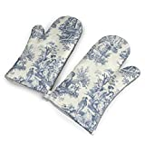 TRENDCAT Toile De Jouy Wallpaper Oven Mitts/Gloves - Heat Resistant Handle Hot Oven/Cooking Items Safely - Soft Insulated Deep Pockets Pack of 2 Mitts