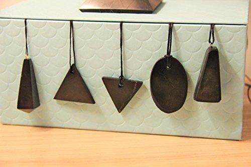 Karelian Heritage Stone Pyramid Pendants Set, Authentic Shungite from Russia (6 items) S004