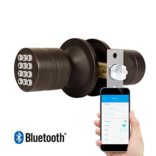 TurboLock TL-99 Bluetooth Smart Lock for Keyless Entry & Live Monitoring – Send & Delete eKeys w/ App on Demand (Bronze)