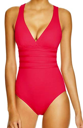 51IWLb3XEyL Sexy One Piece Bathing Suit with Deep Plunge Style Neckline Tummy Control Slimming Lining Design to Smooth and Flatter Figure Thick Multiples Straps Criss Cross at Back