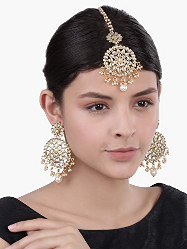 I-Jewels-Gold-Plated-Traditional-Kundan-Pearl-Earring-Set-with-Maang-Tikka-for-Women-TE2462W