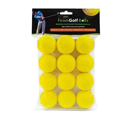 Shaun Webb's PGA, Soft Golf Balls (Pack of 12 Yellow Foam Practice Balls) Dent Resistant, Long Lasting - Perfect for Home and Office.