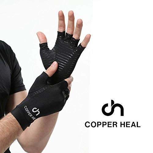 COPPER HEAL Arthritis Compression Gloves – Best Medical Copper Glove Guaranteed to Work for Rheumatoid Arthritis, Carpal Tunnel, RSI Osteoarthritis & Tendonitis Open in Fingers Fingerless Fit Size M deal 50% off 418c2yKWWoL