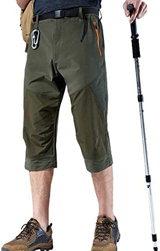 Vcansion Men's Outdoor Quick Dry Hiking Cargo Capri Shorts Summer 3/4 Pants 3