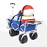 Mac Sports Heavy Duty Collapsible Folding All Terrain Utility Beach Wagon Cart with Side Table and Straps,...