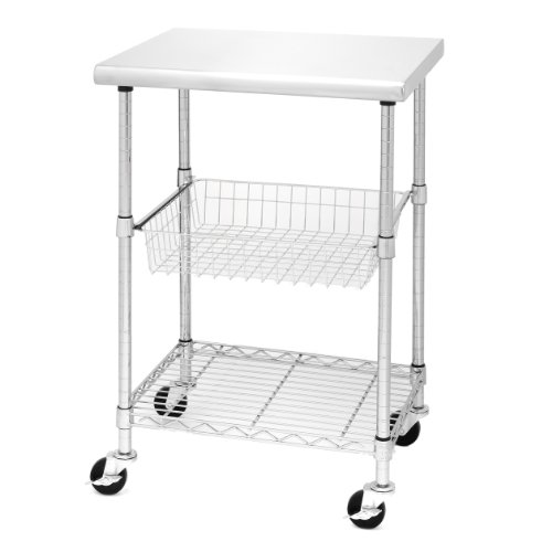 Seville Classics Stainless-Steel NSF-Certified Professional Kitchen Work Table Cart, 24' W x 20' D x 36' H,