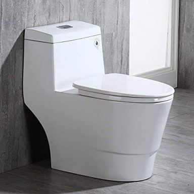 WOODBRIDGE T-0001, Dual Flush Elongated One Piece Toilet with Soft Closing Seat, Comfort Height, Water Sense, High-Efficiency, Rectangle Button B-0940 Pure White
