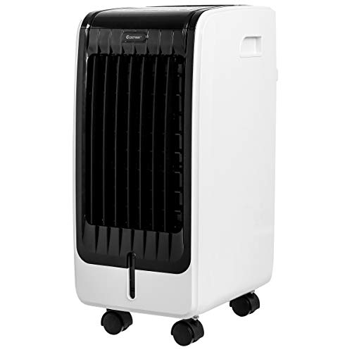 COSTWAY Air Cooler, Portable Evaporative Air Cooler with Fan & Humidifier Bladeless Quiet Electric Fan w/Remote Control for Indoor Home Office Dorms (24.5')