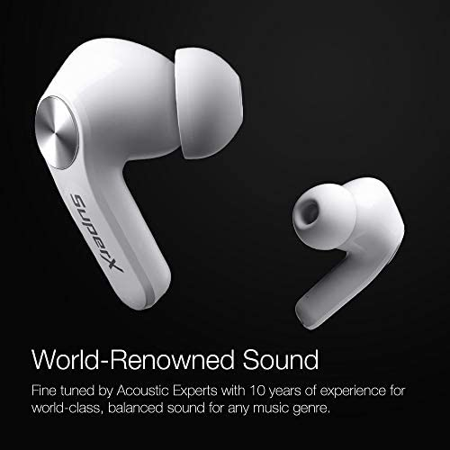SuperX Bluetooth 5.0 Wireless Earbuds with Charging Case IPX5 Sweatproof Headset/Headphones in Ear Built in Mic Industrial Leading TWS Sound with Sport Pumping Bass - Platinum Silver 13