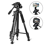 Tripod, Camera Tripod 59' Portable Phone Tripod with Phone Holder, Video Tripod Compatible for Canon Nikon Sony Olympus DV, 360 Panorama, 2.69Lb Lightweight Aluminum Alloy with Travel Bag, 11Lb Load
